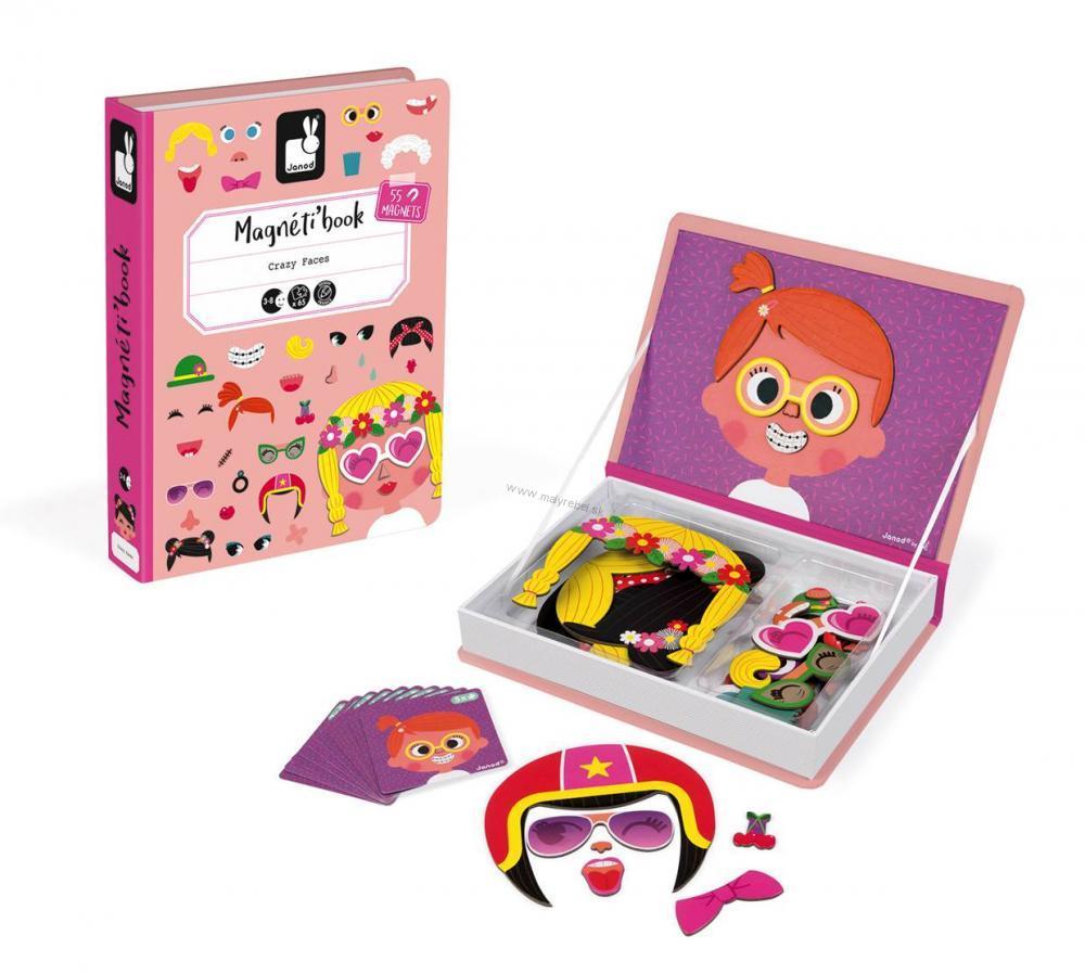 43d1936b4e89 Magnetická kniha Zábavné tváre dievčatá- magnetibook Janod