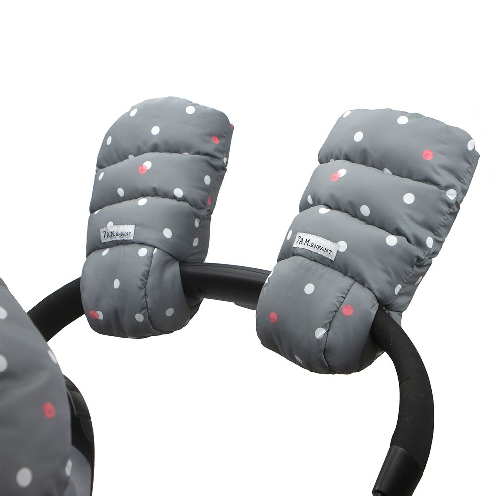 7AM Enfant WarMMuffs rukavice na kočík Grey Polkadots
