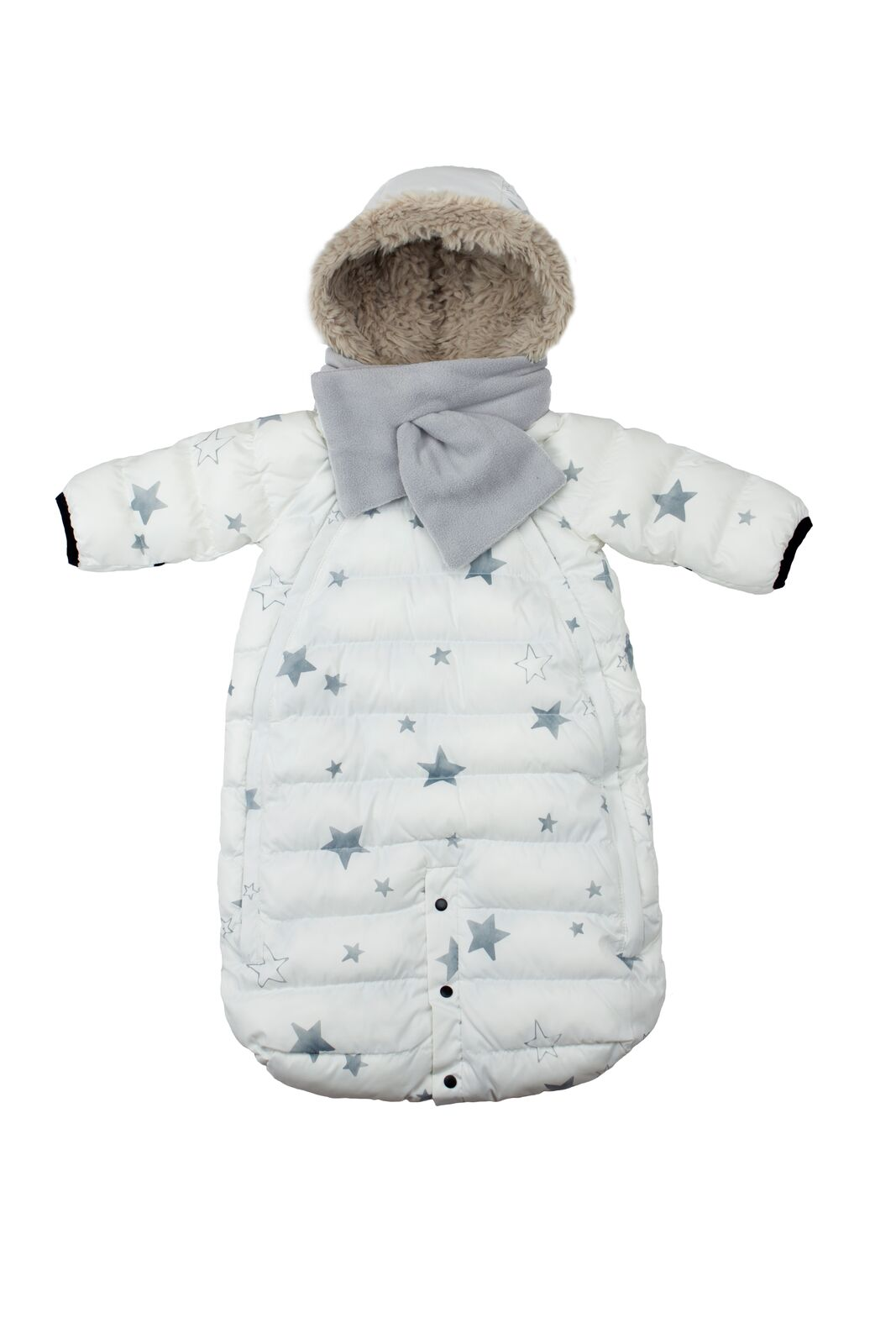 7AM Enfant Doudoune overal so šálom Print White Stars